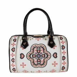 NICOLE LEE ORIBE EMBROIDERED PATTERN BOSTON BAG